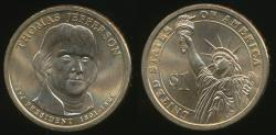 World Coins - United States, 2007-P Thomas Jefferson Presidential Dollar, $1 - Uncirculated