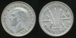 World Coins - Australia, 1949 Threepence, 3d, George VI (Silver) - Very Fine