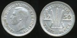 World Coins - Australia, 1950 Threepence, 3d, George VI (Silver) - Very Fine/Extra Fine