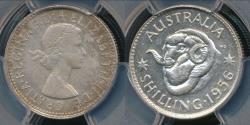 World Coins - Australia, 1956(m) One Shilling, 1/-, Elizabeth II (Silver) - PCGS MS63 (Ch-Unc)