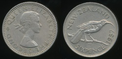 World Coins - New Zealand, 1957 Sixpence, 6d, Elizabeth II - Extra Fine