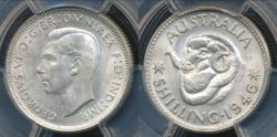 World Coins - Australia, 1946(m) One Shilling, 1/-, George VI (Silver) - PCGS MS64 (Ch-Unc)