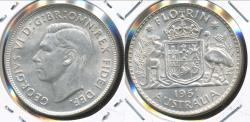 World Coins - Australia, 1951(m) Florin, 2/-, George VI (Silver) - almost Uncirculated