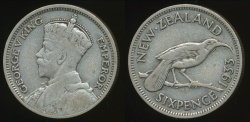 World Coins - New Zealand, 1933 Sixpence, 6d, George V (Silver) - Fine