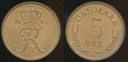 World Coins - Denmark, Kingdom, Frederik IX, 1965 5 Ore - Uncirculated