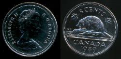 World Coins - Canada, Confederation, 1989 5 Cents, Elizabeth II - Specimen