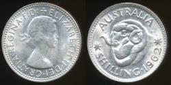 World Coins - Australia, 1962 One Shilling, 1/-, Elizabeth II (Silver) - Uncirculated