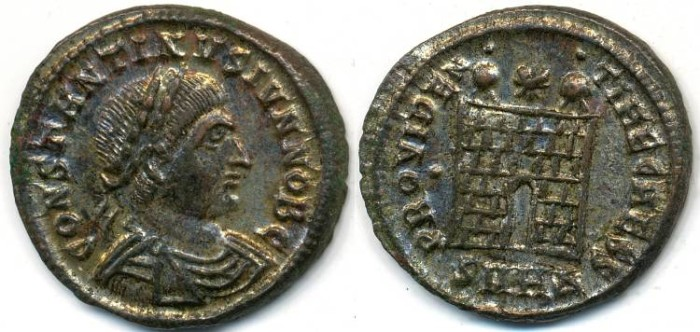 Ancient Coins - CONSTANTINE II, Silvered AE-3 AD 317-340, Heraclea mint, Struck 327-329 AD, (19mm, 2.87 gm) - RIC VII 96