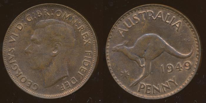World Coins - AUSTRALIA - 1949, One Penny, George VI - Unc