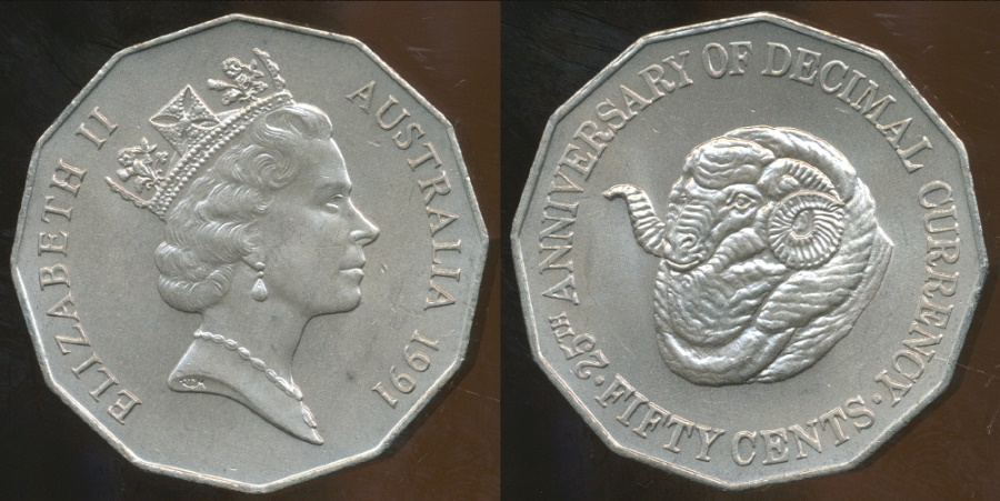 World Coins - Australia, 1991 50 Cents, Elizabeth II (25th Anniversary of Decimal Currency) - Uncirculated
