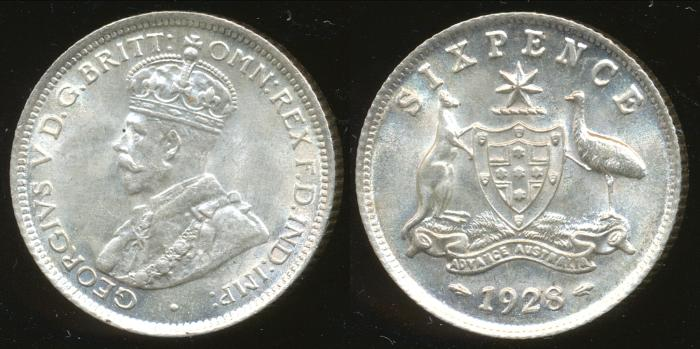 World Coins - AUSTRALIA - 1928 Sixpence, George V - Ch-Unc