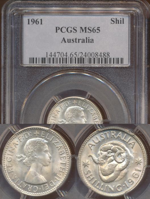 World Coins - Australia, 1961 Shilling, Elizabeth II - PCGS MS65