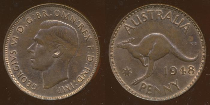 World Coins - AUSTRALIA - 1948, One Penny, George VI - Unc