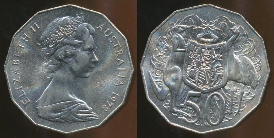 World Coins - Australia, 1978 50 Cents, Elizabeth II - Uncirculated