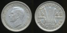 World Coins - Australia, 1948 Threepence, 3d, George VI (Silver) - Very Fine