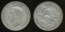 World Coins - New Zealand, 1946 One Shilling, 1/-, George VI (Silver) - Fine