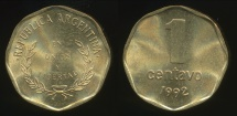 World Coins - Argentina, Republic, 1992 1 Centavo - Uncirculated