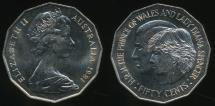 World Coins - Australia, 1981 Fifty Cents, 50c, Elizabeth II (Royal Wedding) - Uncirculated