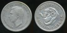 World Coins - Australia, 1946(s) One Shilling, 1/-, George VI (Silver) - Fine