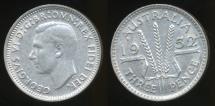 World Coins - Australia, 1952 Threepence, 3d, George VI (Silver) - Extra Fine