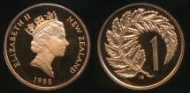 World Coins - New Zealand, 1988 One Cent, 1c, Elizabeth II - Proof