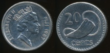 Fiji, Republic, 1987 20 Cents, Elizabeth II - Extra Fine