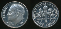 World Coins - United States, 1995-S Dime, Roosevelt - Proof