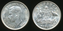 World Coins - Australia, 1942(d) Sixpence, 6d, George VI (Silver) - Uncirculated