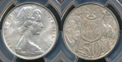 World Coins - Australia, 1966 Fifty Cents, 50c, Elizabeth II - PCGS MS63 (Ch-Unc)