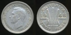 World Coins - Australia, 1948 Threepence, 3d, George VI (Silver) - Very Fine