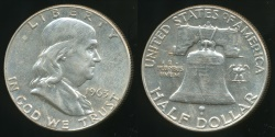 World Coins - United States, 1963-D Half Dollar, Franklin (Silver) - Uncirculated