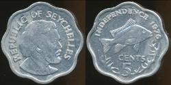 World Coins - Seychelles, Republic, 1976, 5 Cents - Ch-Unc