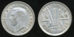World Coins - Australia, 1949 Threepence, 3d, George VI (Silver) - Very Fine/Extra Fine