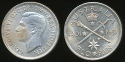 World Coins - Australia, 1951 Florin, 2/-, George VI (Jubilee)(Silver) - Uncirculated