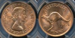 World Coins - Australia, 1964(m) One Penny, 1d, Elizabeth II - PCGS MS65RD (Gem-Unc)