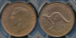 World Coins - Australia, 1950(m) One Penny, 1d, George VI - PCGS MS64RB (Ch-Unc)