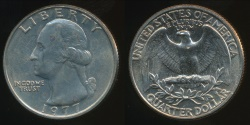 World Coins - United States, 1977 Quarter, 1/4 Dollar, Washington - Uncirculated