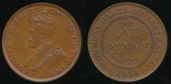 World Coins - Australia, 1936 One Penny, 1d, George V - Extra Fine