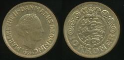 World Coins - Denmark, Kingdom, Margrethe II, 1989 10 Kroner - Uncirculated