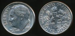World Coins - United States, 1988-D Dime, Roosevelt - Uncirculated