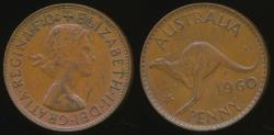 World Coins - Australia, 1960(p) One Penny, 1d, Elizabeth II - Very Fine