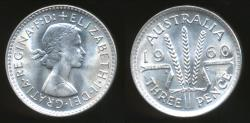 World Coins - Australia, 1960 Threepence, 3d, Elizabeth II (Silver) - Choice Uncirculated