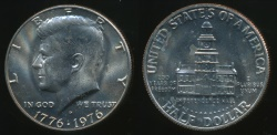 World Coins - United States, 1976-D Half Dollar, Kennedy (Bicentennial - Independence Hall) - Uncirculated