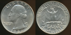 World Coins - United States, 1980-P Quarter, 1/4 Dollar, Washington - Uncirculated