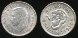 World Coins - Australia, 1944(s) One Shilling, 1/-, George VI (Silver) - Extra Fine