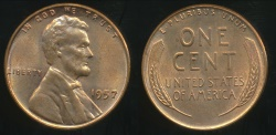 World Coins - United States, 1957 One Cent, Lincoln Wheat - Uncirculated