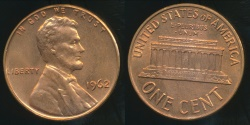 World Coins - United States, 1962 One Cent, Lincoln Memorial - Uncirculated
