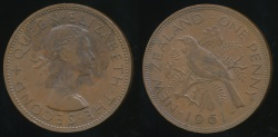 World Coins - New Zealand, 1961 One Penny, 1d, Elizabeth II - Extra Fine