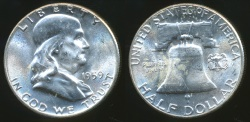 World Coins - United States, 1959 Half Dollar, Franklin (Silver) - Choice Uncirculated
