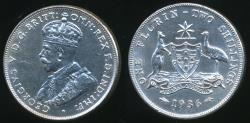World Coins - Australia, 1936 Florin, 2/-, George V (Silver) - almost Uncirculated
